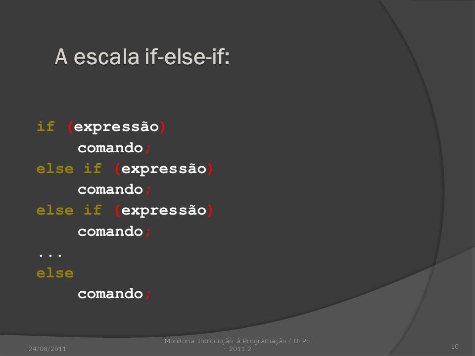 if (expressão) comando; else if (expressão) comando; else if (expressão) comando;... else comando; 10 A escala if-else-if: 24/08/2011 Monitoria Introd