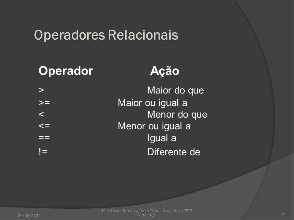 Operador Ação > Maior do que >= Maior ou igual a < Menor do que <= Menor ou igual a ==Igual a != Diferente de 3 Operadores Relacionais 24/08/2011 Moni