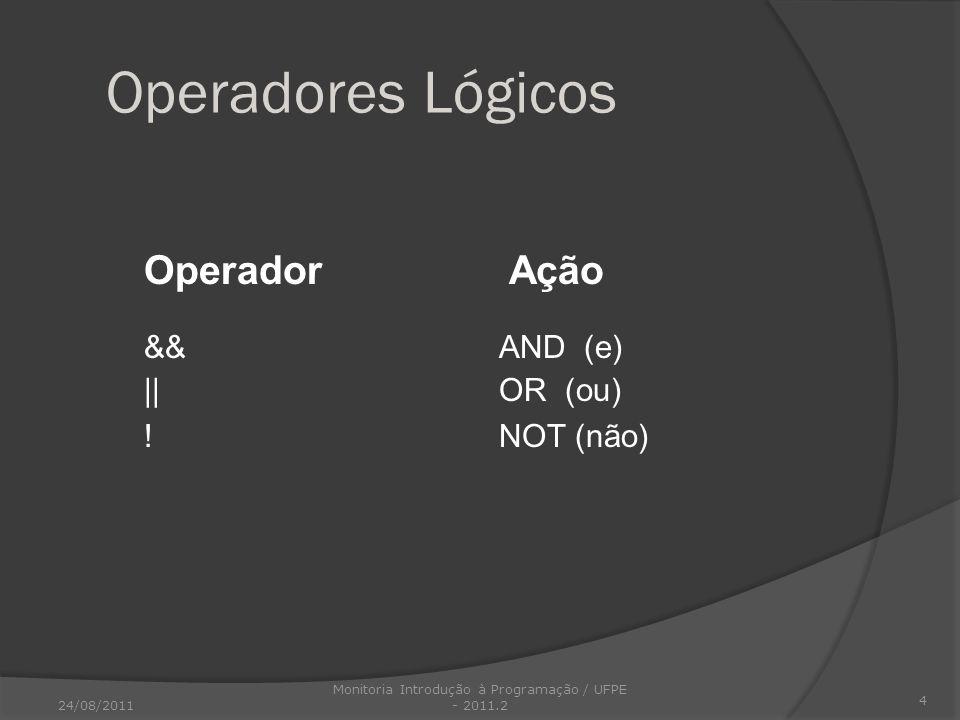 Operadores Lógicos Operador Ação &&AND (e) ||OR (ou) !NOT (não) 4 24/08/2011 Monitoria Introdução à Programação / UFPE - 2011.2