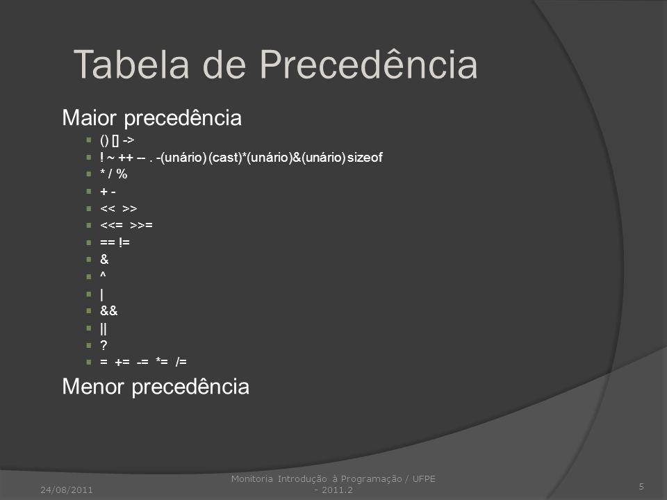 Tabela de Precedência Maior precedência () [] -> ! ~ ++ --. -(unário) (cast)*(unário)&(unário) sizeof * / % + - > >= == != & ^ | && || ? = += -= *= /=