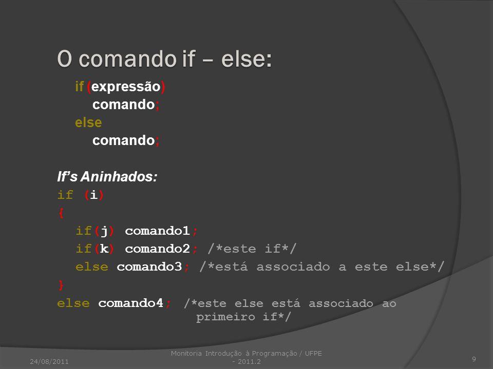 if (expressão) comando; else comando; Ifs Aninhados: if (i) { if(j) comando1; if(k) comando2; /*este if*/ else comando3; /*está associado a este else*