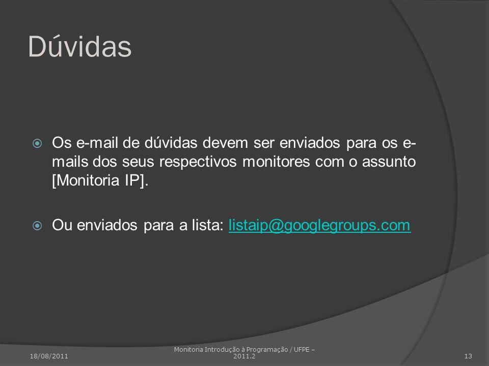 Dúvidas Os e-mail de dúvidas devem ser enviados para os e- mails dos seus respectivos monitores com o assunto [Monitoria IP]. Ou enviados para a lista