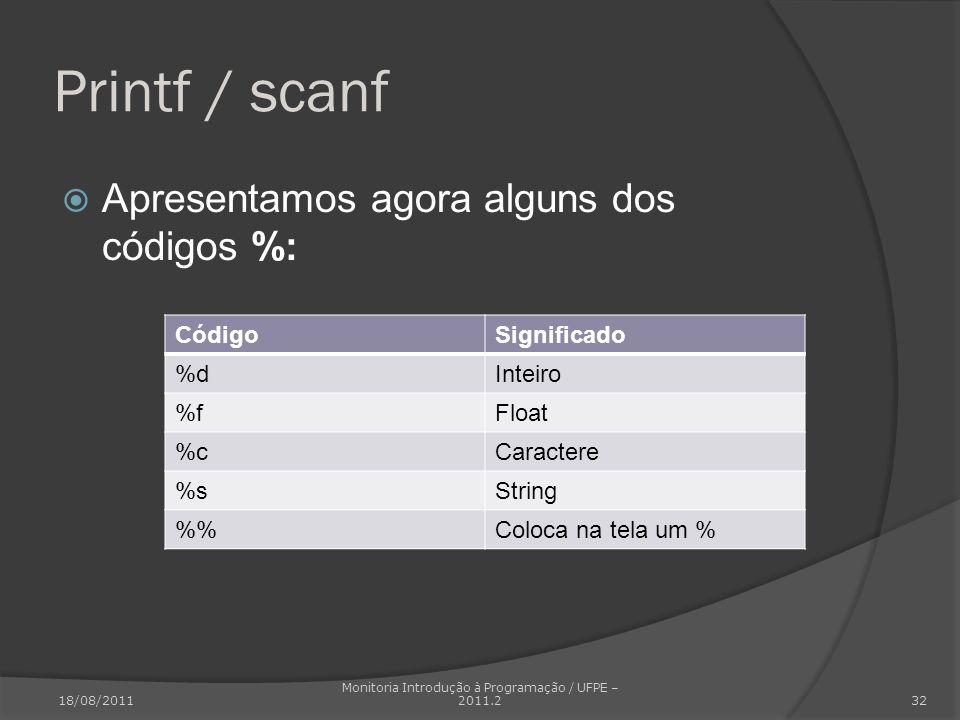 Printf / scanf Apresentamos agora alguns dos códigos %: CódigoSignificado %dInteiro %fFloat %cCaractere %sString %Coloca na tela um % 18/08/2011 Monit