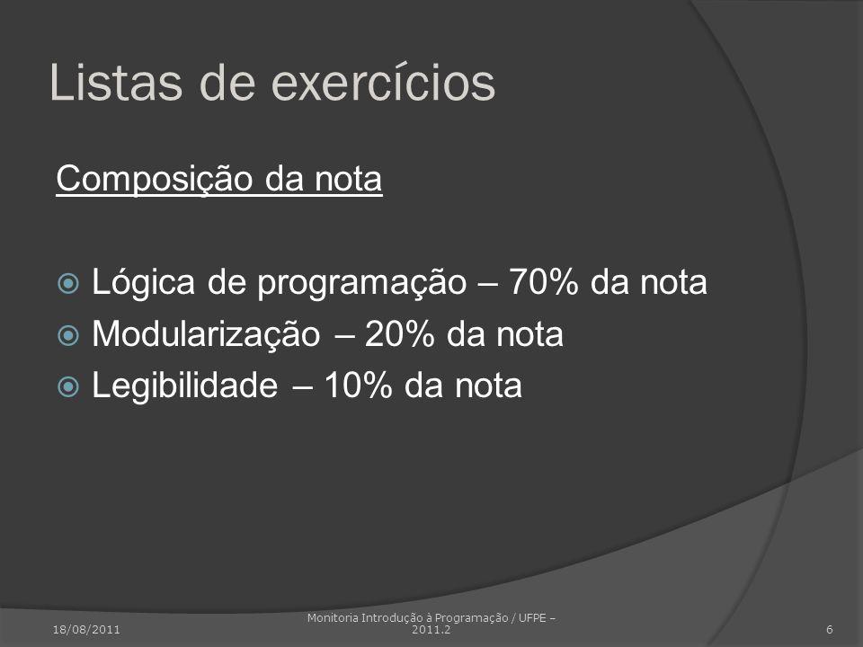 Listas de exercícios Composição da nota Lógica de programação – 70% da nota Modularização – 20% da nota Legibilidade – 10% da nota 18/08/2011 Monitori