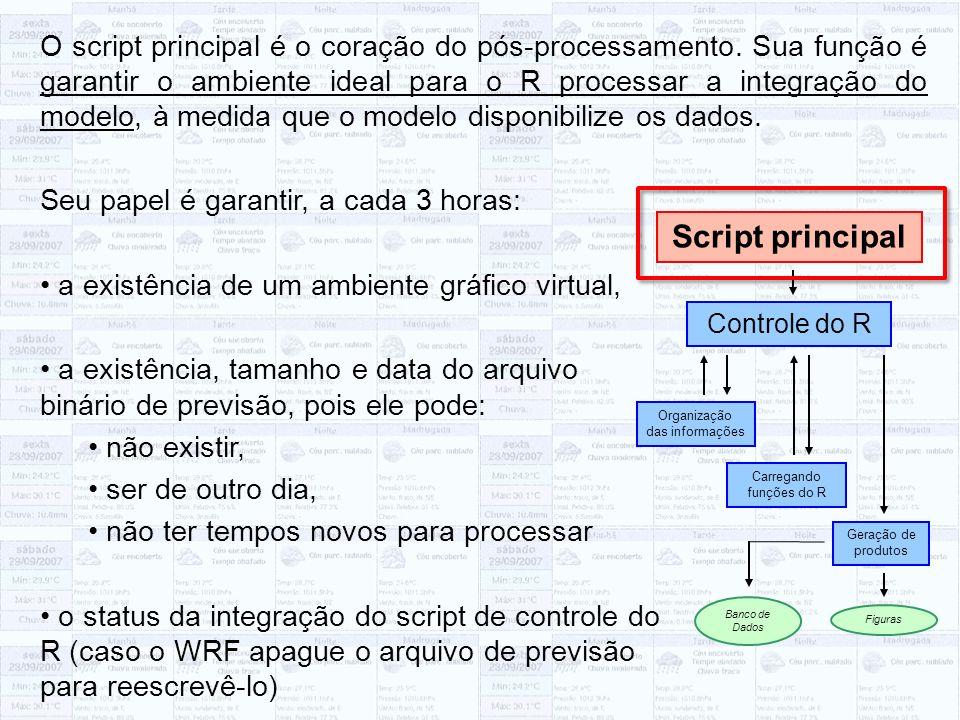 O script principal é o coração do pós-processamento. Sua função é garantir o ambiente ideal para o R processar a integração do modelo, à medida que o