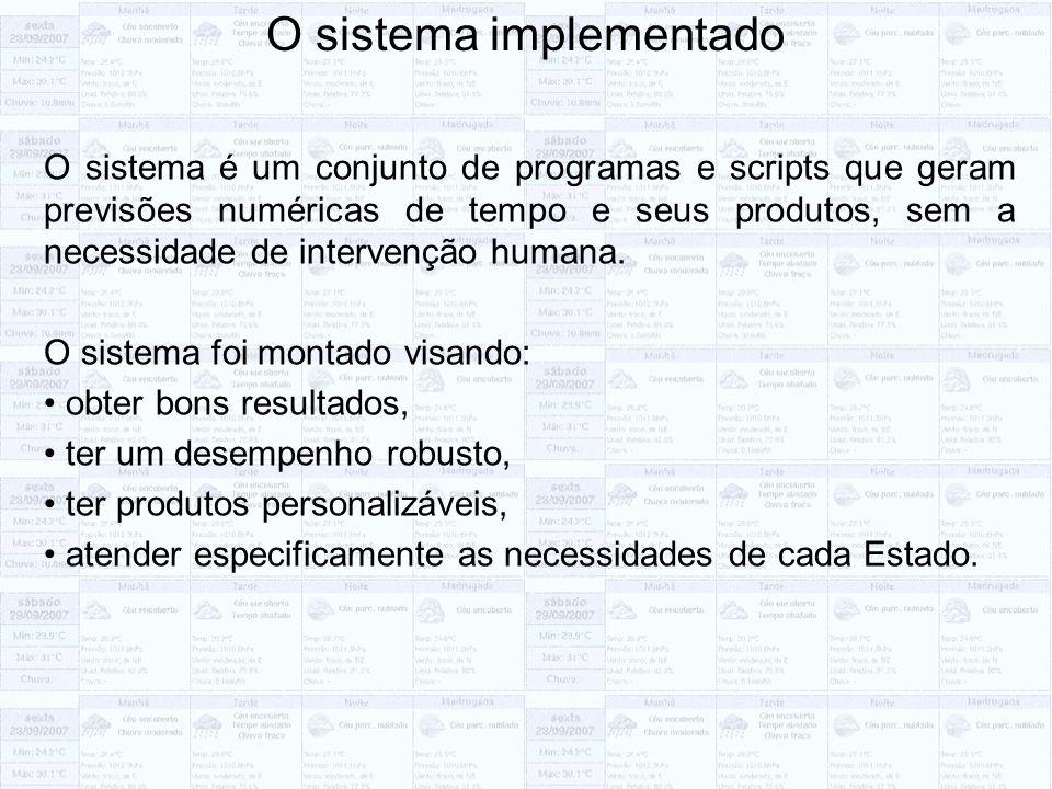 O sistema implementado O sistema é um conjunto de programas e scripts que geram previsões numéricas de tempo e seus produtos, sem a necessidade de intervenção humana.