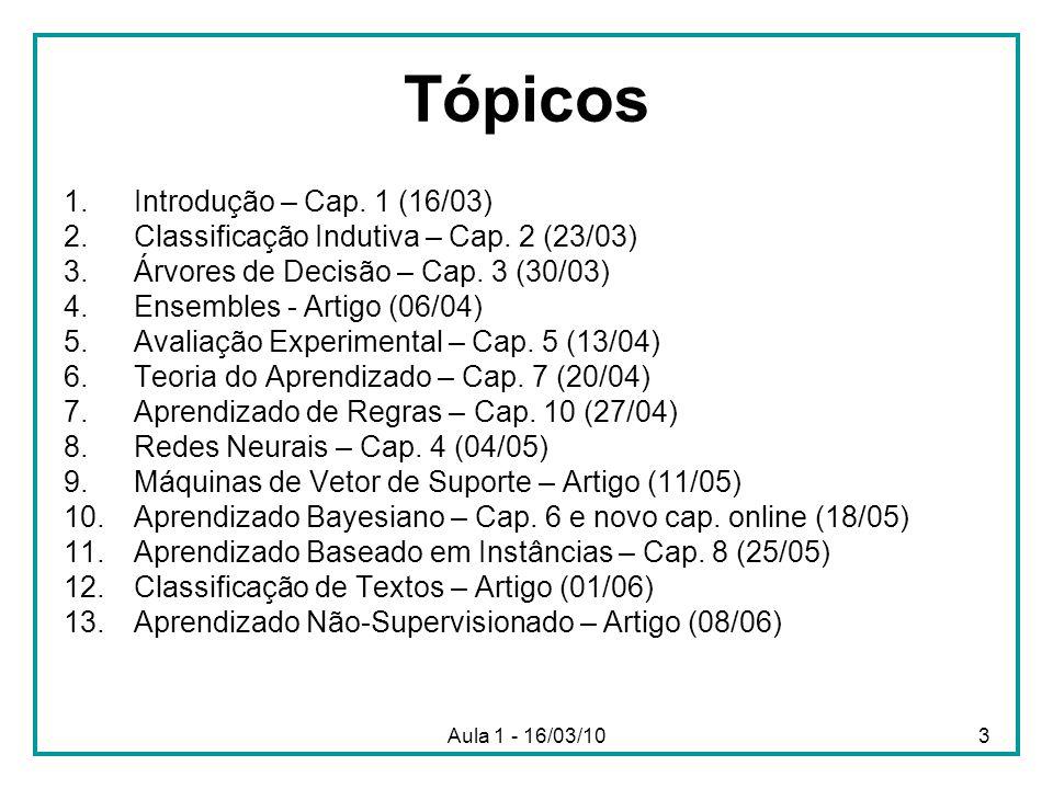 Aula 1 - 16/03/104 Avaliação Trabalhos Teórico (TT) Trabalho Prático (TP) Listas de Exercício (LE) = média das notas das listas que serão dadas ao longo do curso M = (TT + TP + LE)/3
