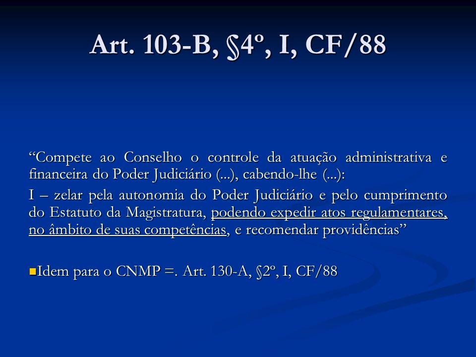 Art. 103-B, §4º, I, CF/88 Compete ao Conselho o controle da atuação administrativa e financeira do Poder Judiciário (...), cabendo-lhe (...): I – zela