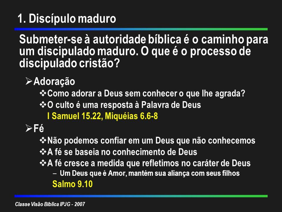 Classe Visão Bíblica IPJG - 2007 1. Discípulo maduro Submeter-se à autoridade bíblica é o caminho para um discipulado maduro. O que é o processo de di