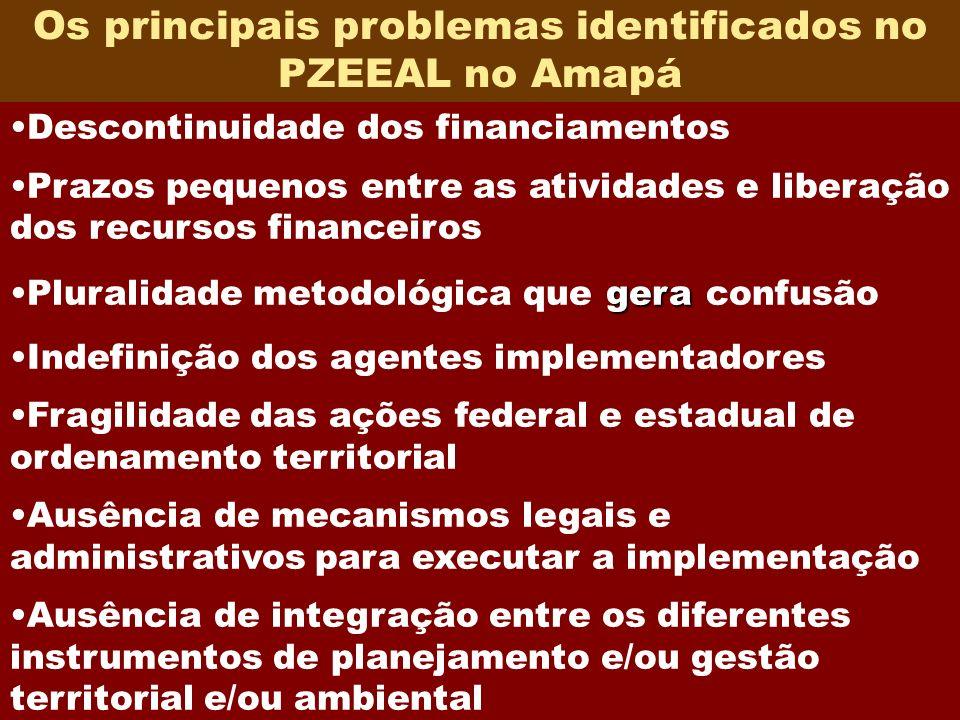17 Os principais problemas identificados no PZEEAL no Amapá Descontinuidade dos financiamentos Prazos pequenos entre as atividades e liberação dos rec