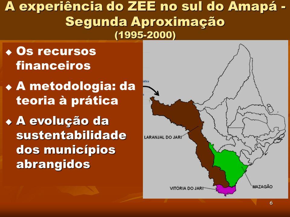 6 A experiência do ZEE no sul do Amapá - Segunda Aproximação (1995-2000) Os recursos financeiros A metodologia: da teoria à prática A evolução da sust
