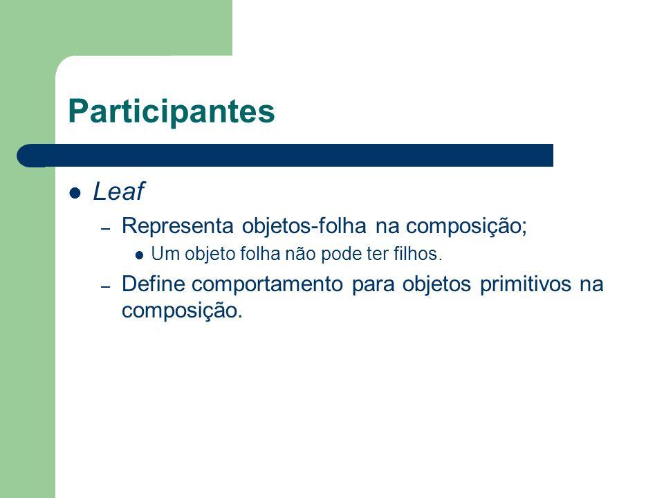 Participantes Leaf – Representa objetos-folha na composição; Um objeto folha não pode ter filhos. – Define comportamento para objetos primitivos na co