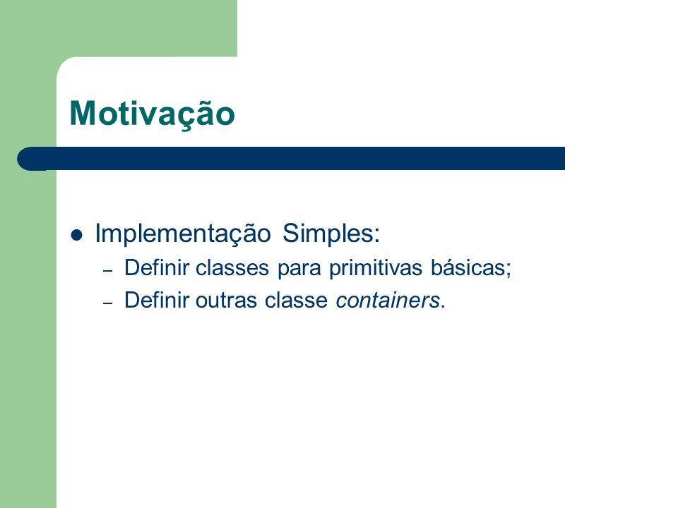 Motivação Implementação Simples: – Definir classes para primitivas básicas; – Definir outras classe containers.