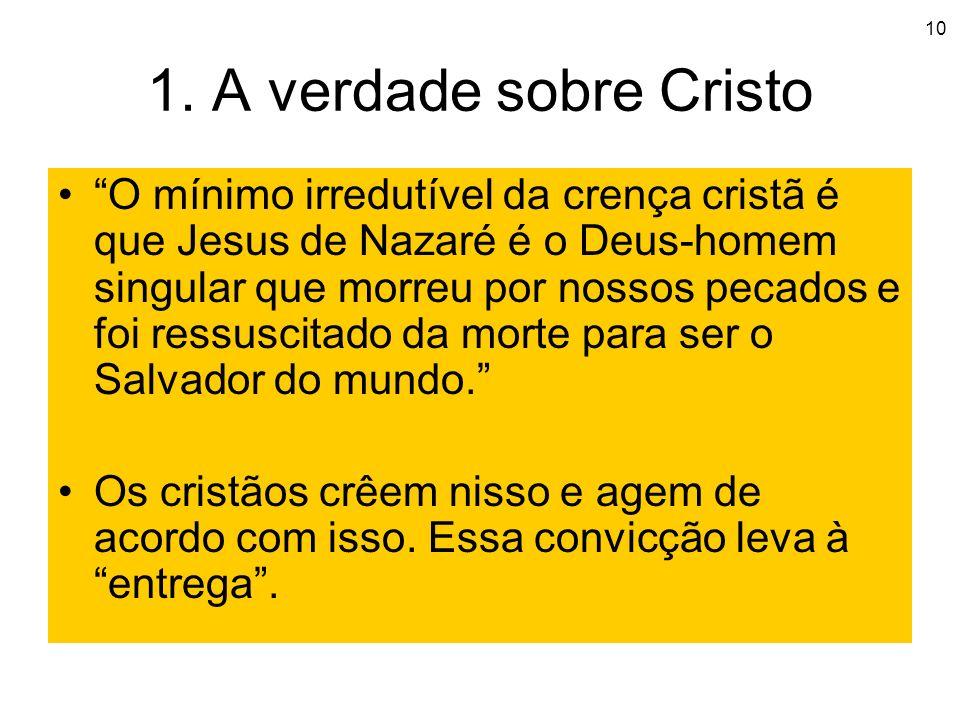 10 1. A verdade sobre Cristo O mínimo irredutível da crença cristã é que Jesus de Nazaré é o Deus-homem singular que morreu por nossos pecados e foi r