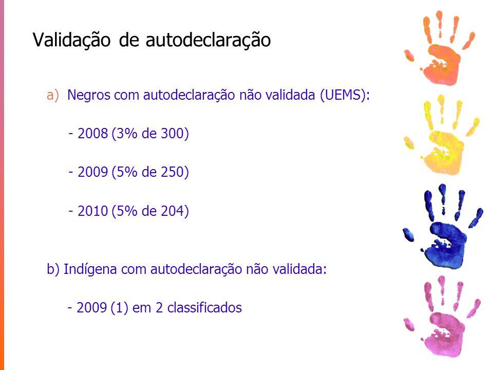 Validação de autodeclaração a)Negros com autodeclaração não validada (UEMS): - 2008 (3% de 300) - 2009 (5% de 250) - 2010 (5% de 204) b) Indígena com