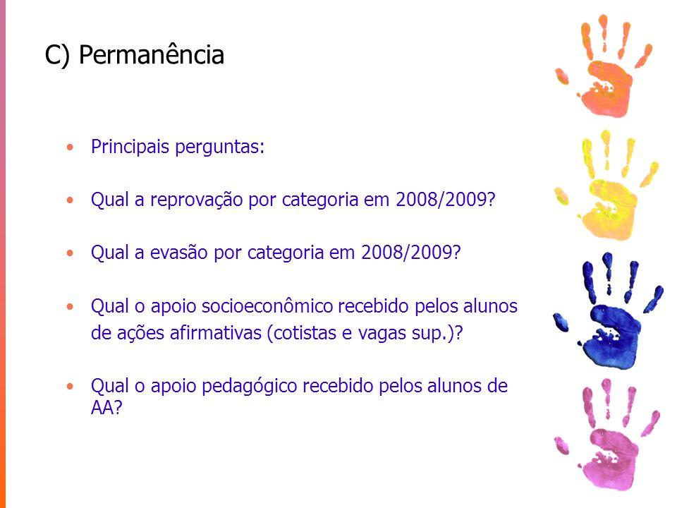 C) Permanência Principais perguntas: Qual a reprovação por categoria em 2008/2009? Qual a evasão por categoria em 2008/2009? Qual o apoio socioeconômi