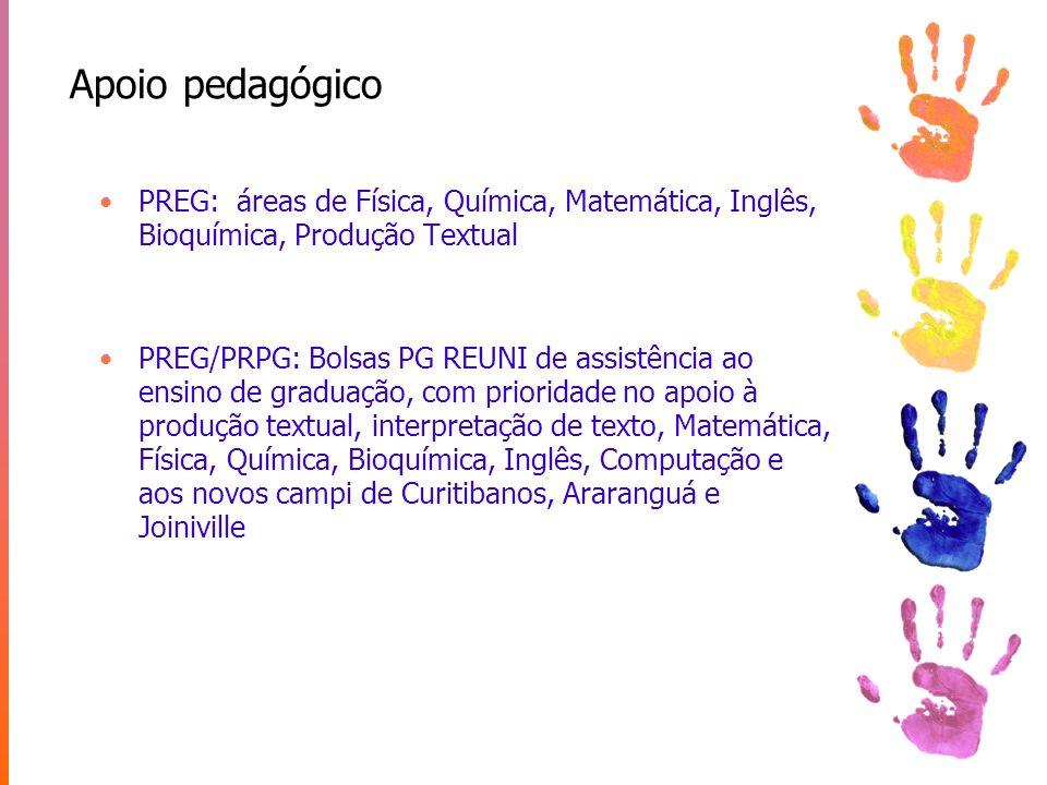 Apoio pedagógico PREG: áreas de Física, Química, Matemática, Inglês, Bioquímica, Produção Textual PREG/PRPG: Bolsas PG REUNI de assistência ao ensino
