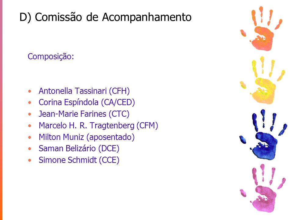 D) Comissão de Acompanhamento Composição: Antonella Tassinari (CFH) Corina Espíndola (CA/CED) Jean-Marie Farines (CTC) Marcelo H. R. Tragtenberg (CFM)