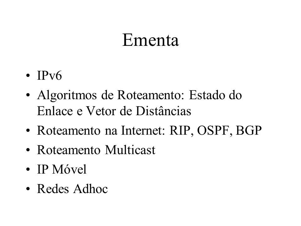 Ementa IPv6 Algoritmos de Roteamento: Estado do Enlace e Vetor de Distâncias Roteamento na Internet: RIP, OSPF, BGP Roteamento Multicast IP Móvel Rede