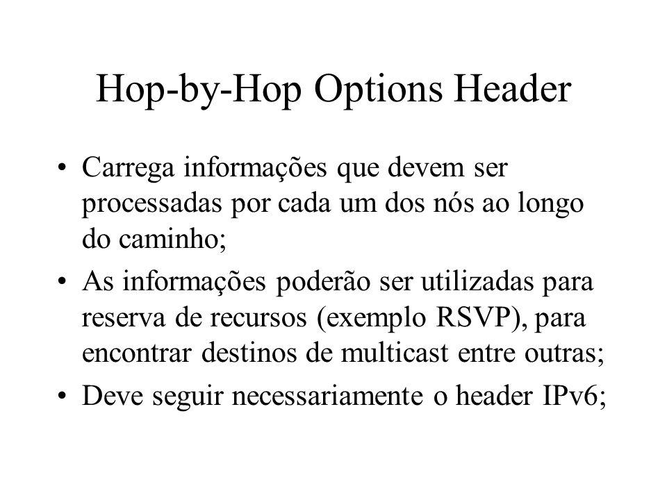 Hop-by-Hop Options Header Carrega informações que devem ser processadas por cada um dos nós ao longo do caminho; As informações poderão ser utilizadas