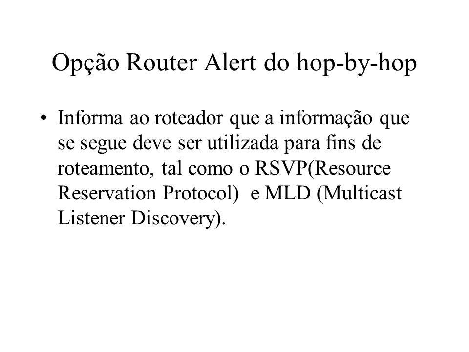 Opção Router Alert do hop-by-hop Informa ao roteador que a informação que se segue deve ser utilizada para fins de roteamento, tal como o RSVP(Resourc