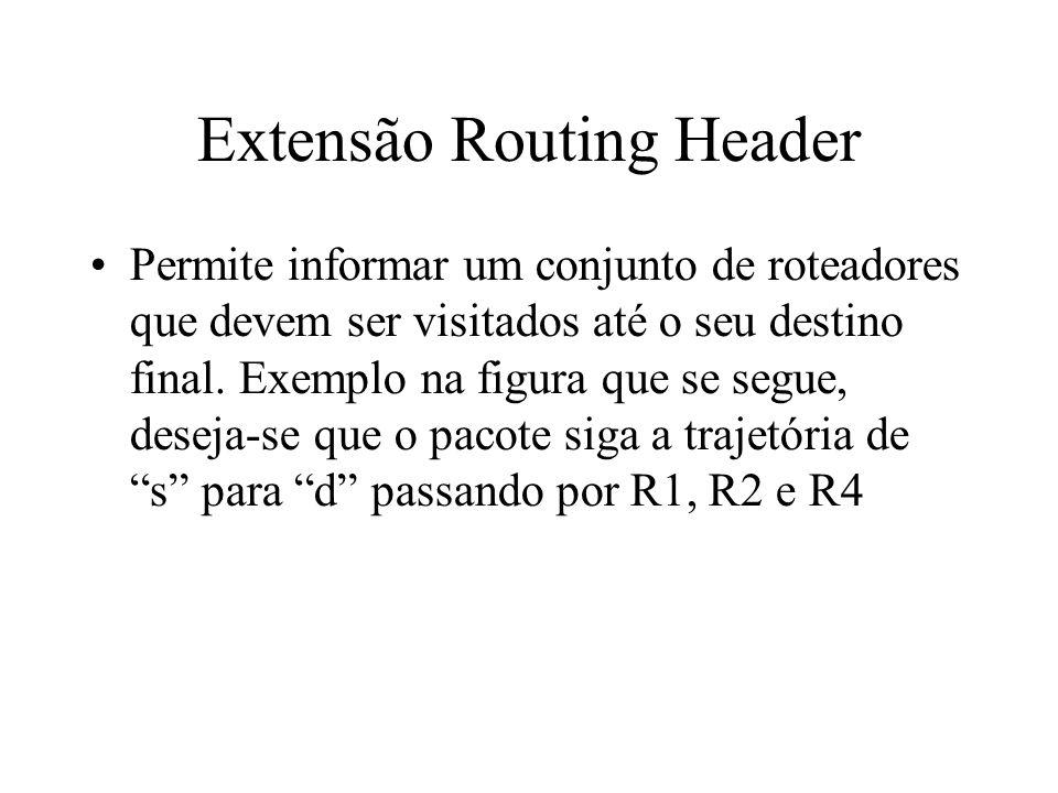 Extensão Routing Header Permite informar um conjunto de roteadores que devem ser visitados até o seu destino final. Exemplo na figura que se segue, de