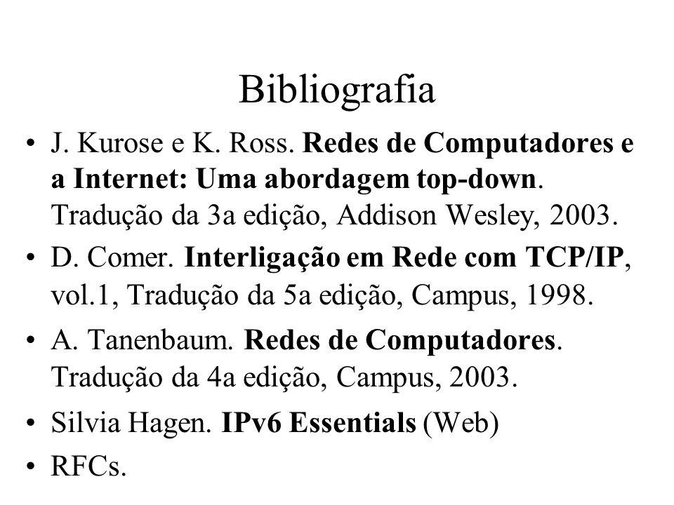 Bibliografia J. Kurose e K. Ross. Redes de Computadores e a Internet: Uma abordagem top-down. Tradução da 3a edição, Addison Wesley, 2003. D. Comer. I