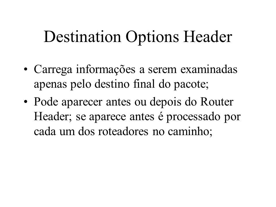Destination Options Header Carrega informações a serem examinadas apenas pelo destino final do pacote; Pode aparecer antes ou depois do Router Header;