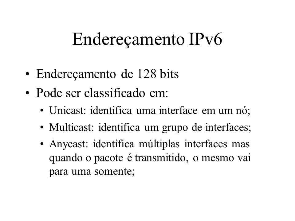 Endereçamento IPv6 Endereçamento de 128 bits Pode ser classificado em: Unicast: identifica uma interface em um nó; Multicast: identifica um grupo de i