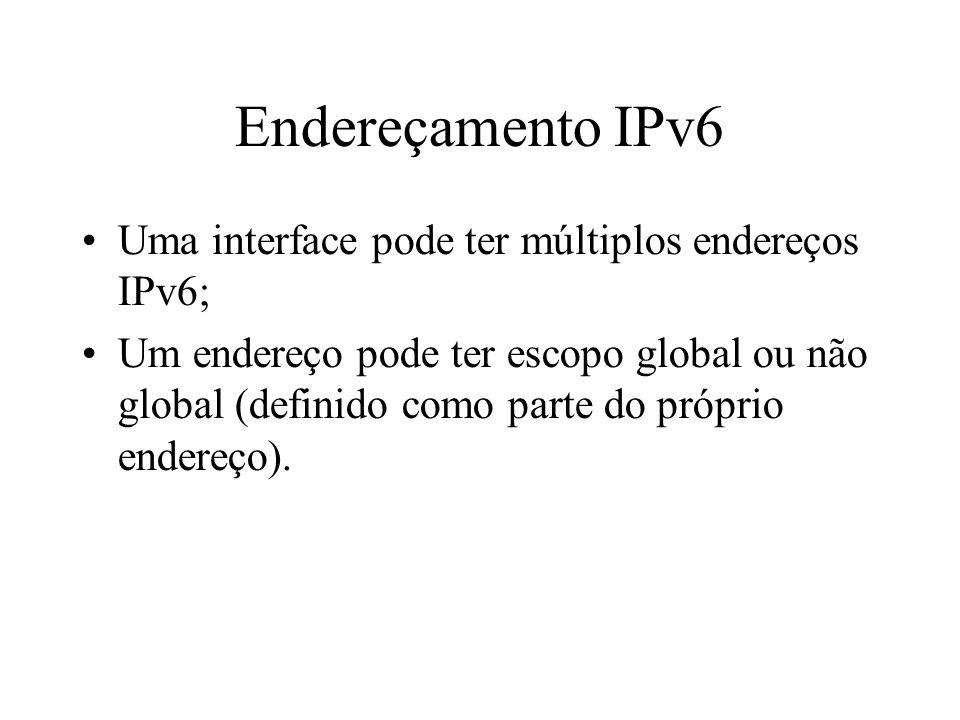 Endereçamento IPv6 Uma interface pode ter múltiplos endereços IPv6; Um endereço pode ter escopo global ou não global (definido como parte do próprio e