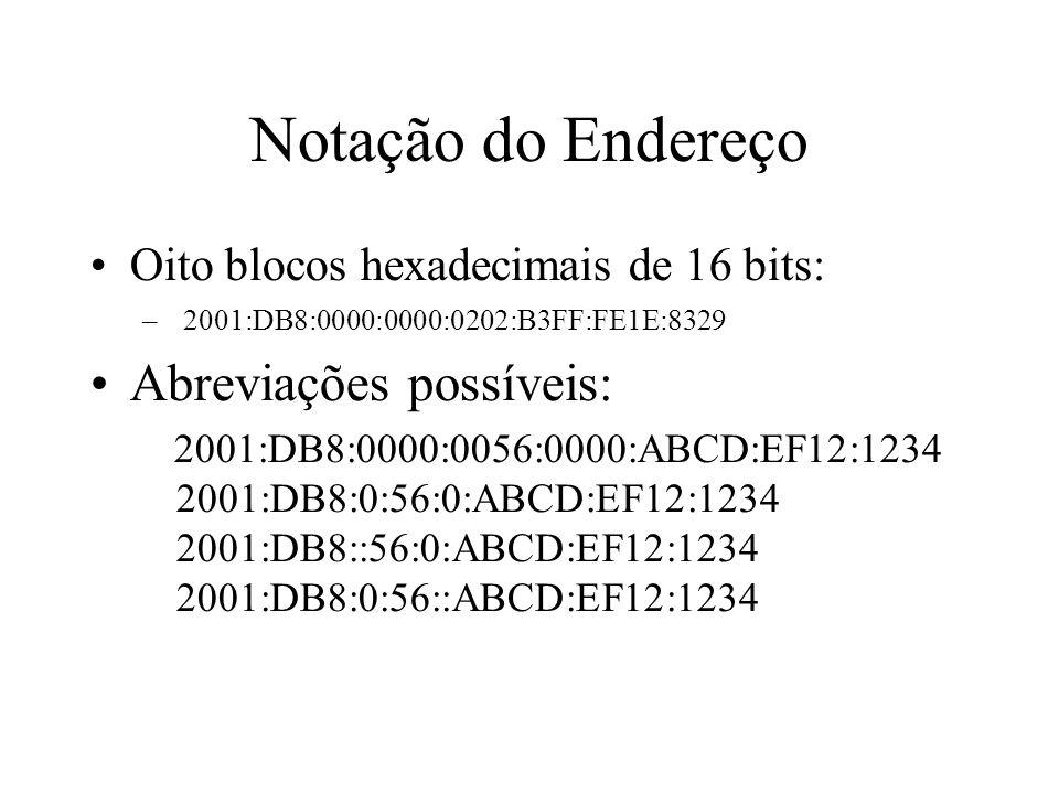 Notação do Endereço Oito blocos hexadecimais de 16 bits: – 2001:DB8:0000:0000:0202:B3FF:FE1E:8329 Abreviações possíveis: 2001:DB8:0000:0056:0000:ABCD: