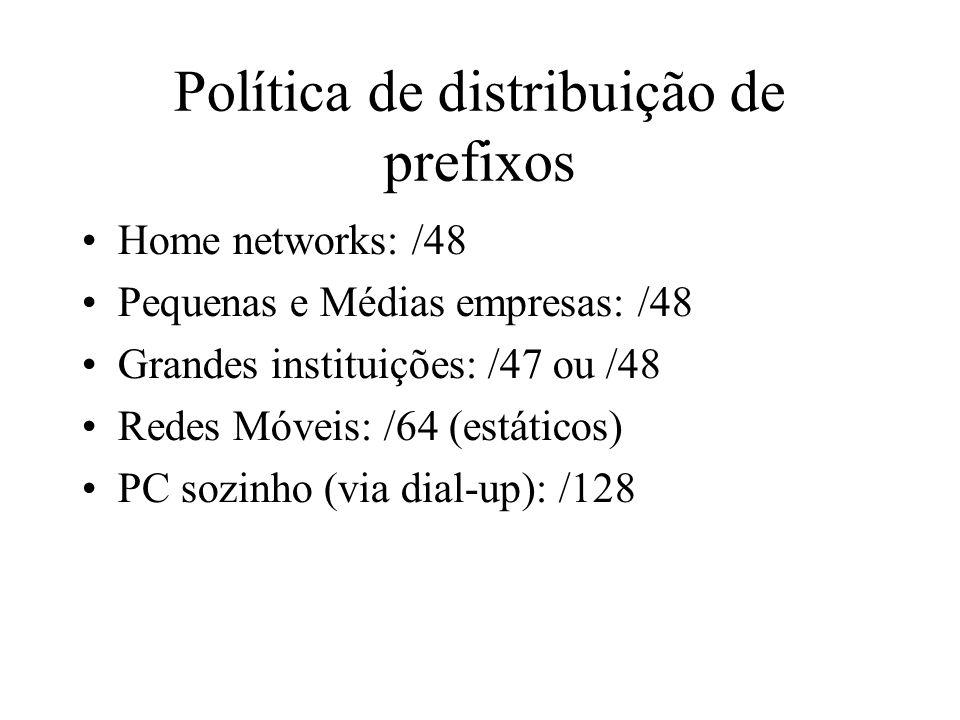Política de distribuição de prefixos Home networks: /48 Pequenas e Médias empresas: /48 Grandes instituições: /47 ou /48 Redes Móveis: /64 (estáticos)