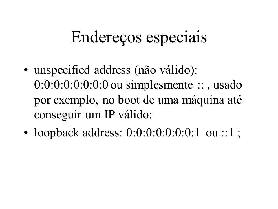 Endereços especiais unspecified address (não válido): 0:0:0:0:0:0:0:0 ou simplesmente ::, usado por exemplo, no boot de uma máquina até conseguir um I