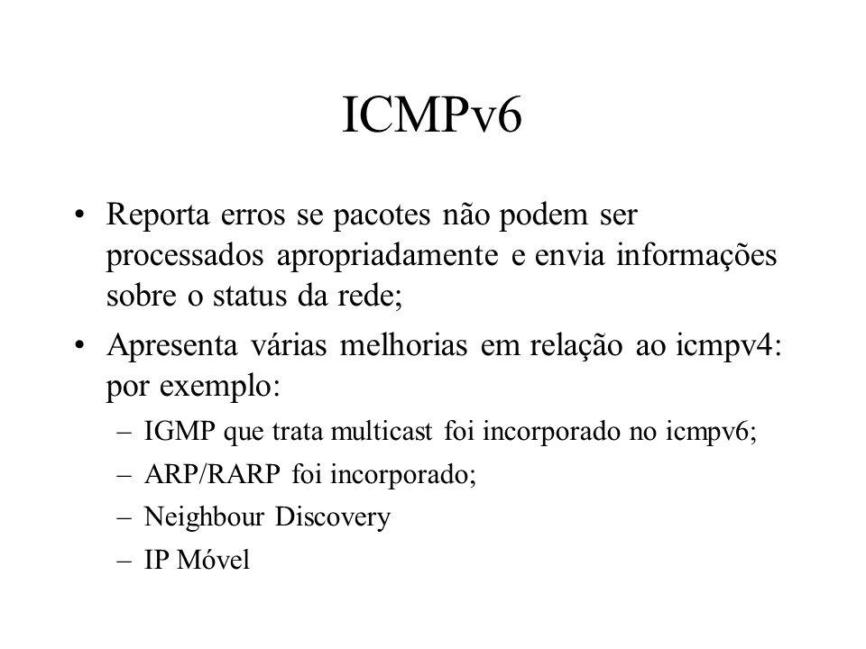 ICMPv6 Reporta erros se pacotes não podem ser processados apropriadamente e envia informações sobre o status da rede; Apresenta várias melhorias em re