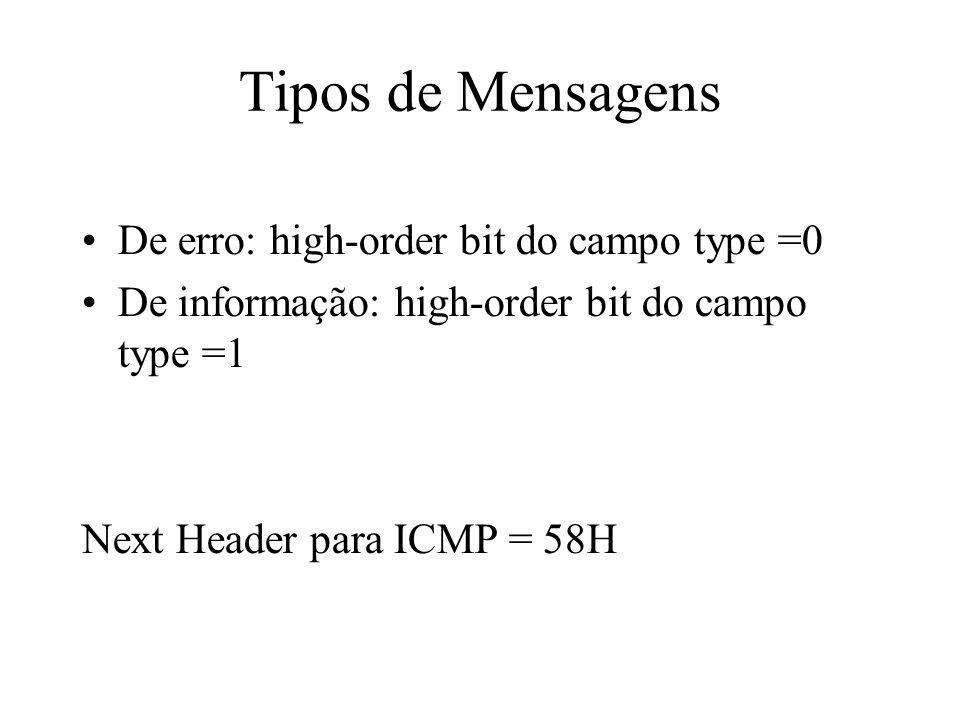 Tipos de Mensagens De erro: high-order bit do campo type =0 De informação: high-order bit do campo type =1 Next Header para ICMP = 58H