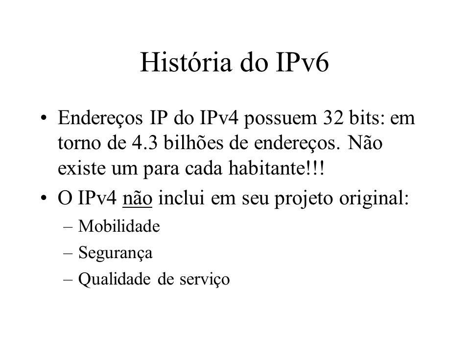 História do IPv6 Endereços IP do IPv4 possuem 32 bits: em torno de 4.3 bilhões de endereços. Não existe um para cada habitante!!! O IPv4 não inclui em