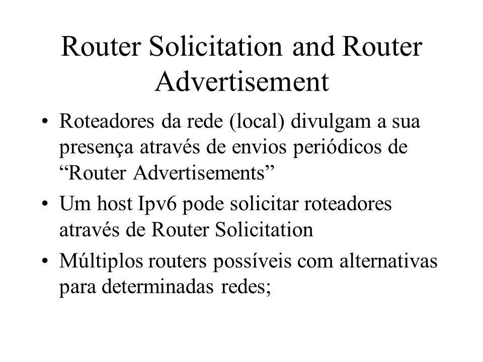 Router Solicitation and Router Advertisement Roteadores da rede (local) divulgam a sua presença através de envios periódicos de Router Advertisements