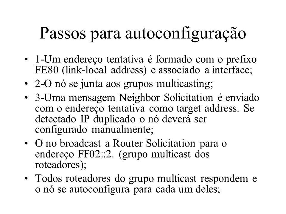 Passos para autoconfiguração 1-Um endereço tentativa é formado com o prefixo FE80 (link-local address) e associado a interface; 2-O nó se junta aos gr