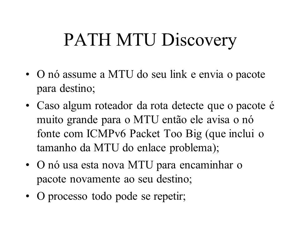 PATH MTU Discovery O nó assume a MTU do seu link e envia o pacote para destino; Caso algum roteador da rota detecte que o pacote é muito grande para o