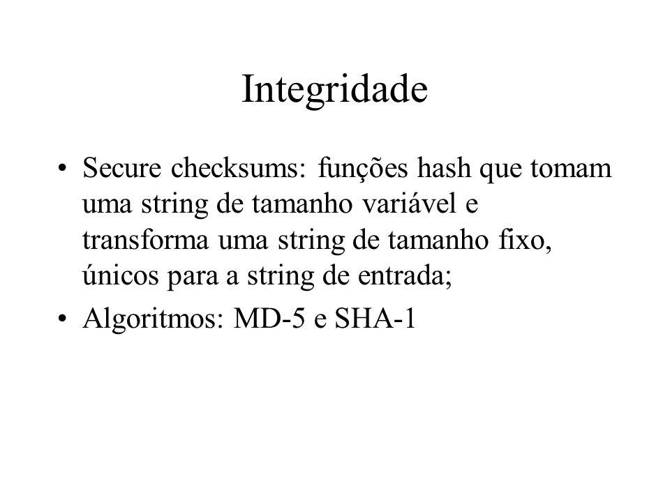 Integridade Secure checksums: funções hash que tomam uma string de tamanho variável e transforma uma string de tamanho fixo, únicos para a string de e