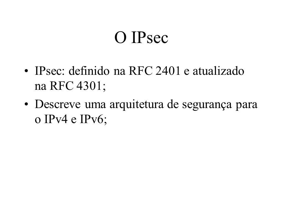 O IPsec IPsec: definido na RFC 2401 e atualizado na RFC 4301; Descreve uma arquitetura de segurança para o IPv4 e IPv6;