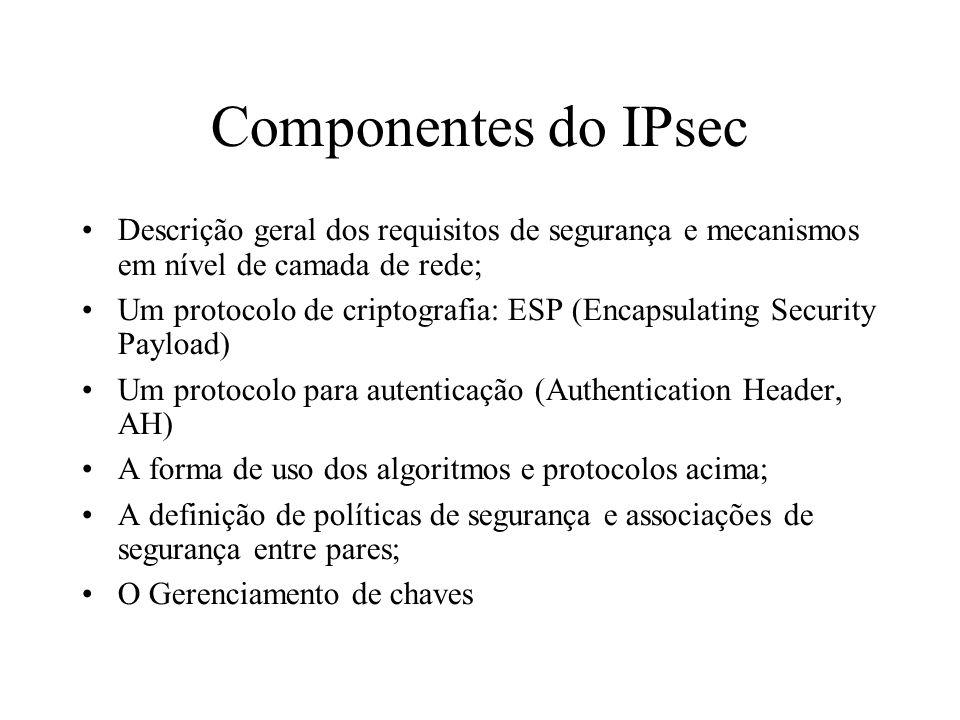 Componentes do IPsec Descrição geral dos requisitos de segurança e mecanismos em nível de camada de rede; Um protocolo de criptografia: ESP (Encapsula