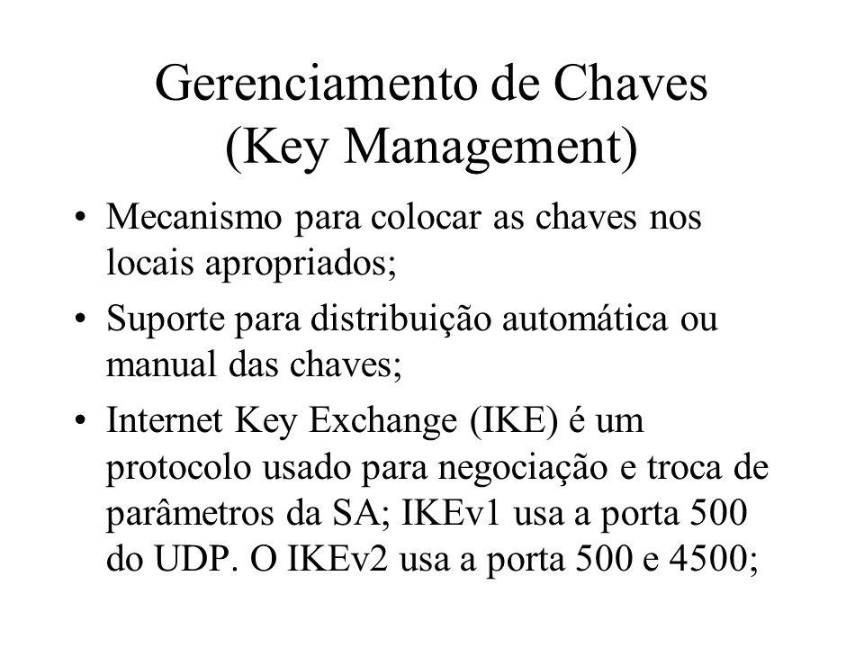 Gerenciamento de Chaves (Key Management) Mecanismo para colocar as chaves nos locais apropriados; Suporte para distribuição automática ou manual das c