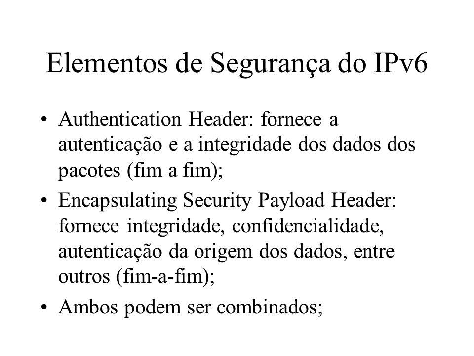 Elementos de Segurança do IPv6 Authentication Header: fornece a autenticação e a integridade dos dados dos pacotes (fim a fim); Encapsulating Security