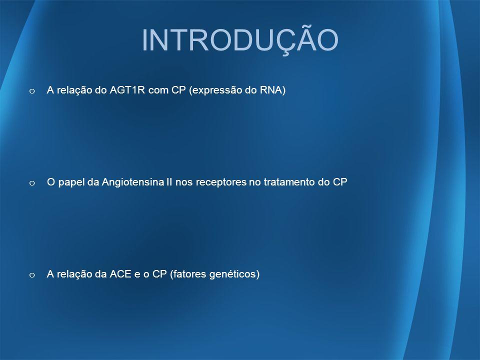 INTRODUÇÃO o A relação do AGT1R com CP (expressão do RNA) o O papel da Angiotensina II nos receptores no tratamento do CP o A relação da ACE e o CP (f