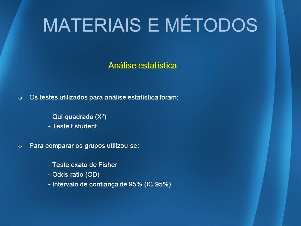 Análise estatística o Os testes utilizados para análise estatística foram: - Qui-quadrado (X 2 ) - Teste t student o Para comparar os grupos utilizou-