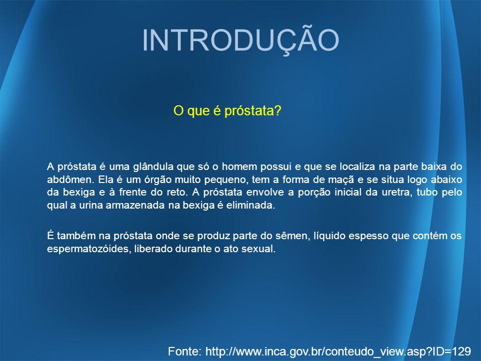 INTRODUÇÃO O que é próstata? A próstata é uma glândula que só o homem possui e que se localiza na parte baixa do abdômen. Ela é um órgão muito pequeno