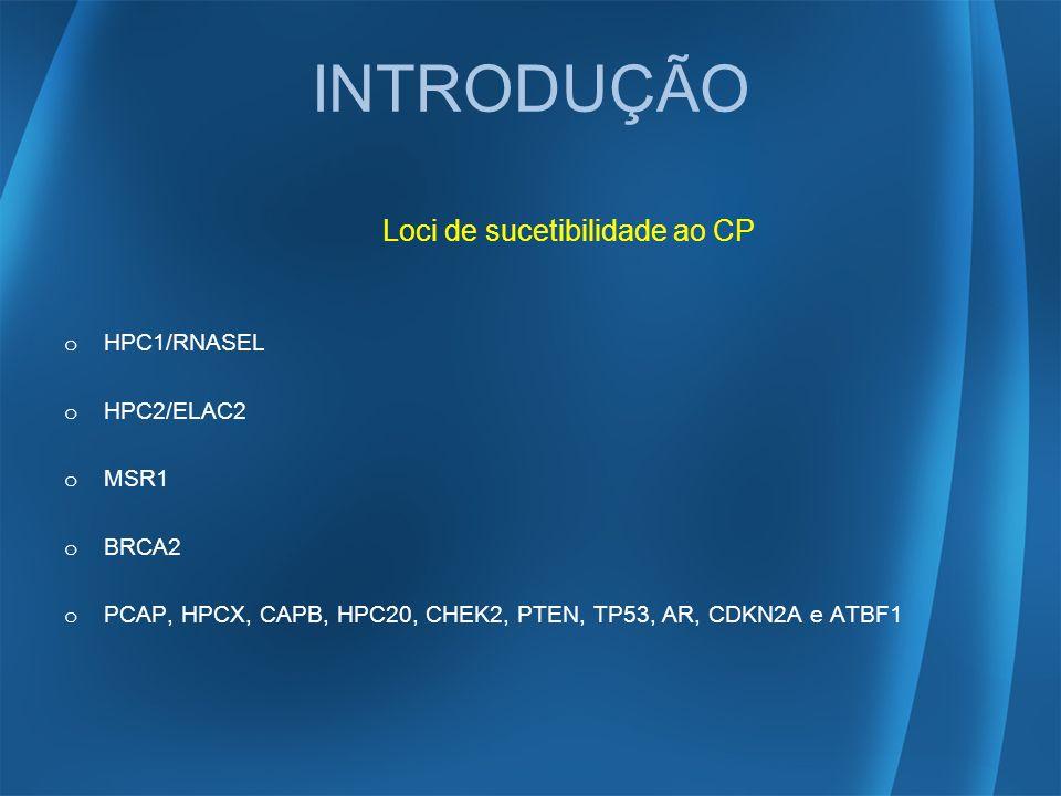INTRODUÇÃO Loci de sucetibilidade ao CP o HPC1/RNASEL o HPC2/ELAC2 o MSR1 o BRCA2 o PCAP, HPCX, CAPB, HPC20, CHEK2, PTEN, TP53, AR, CDKN2A e ATBF1
