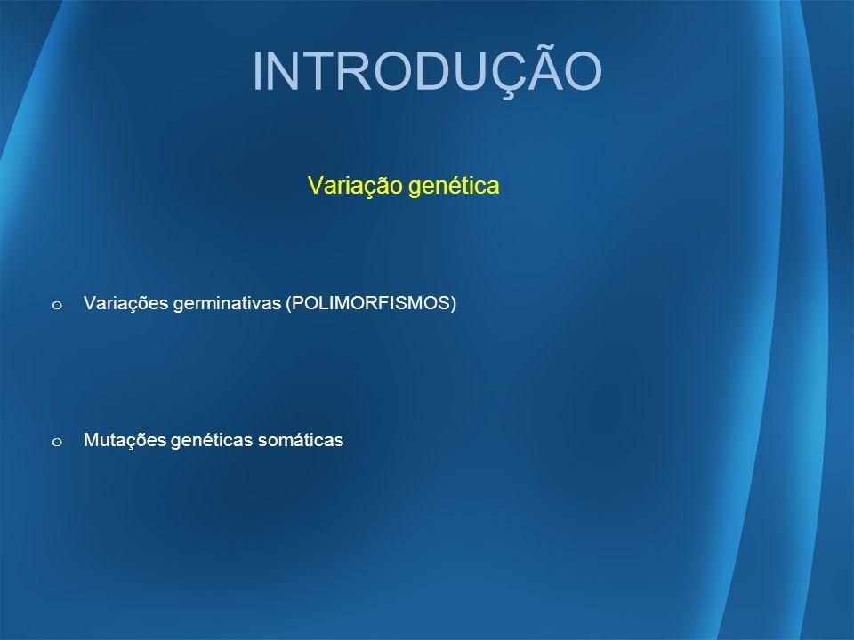 INTRODUÇÃO Variação genética o Variações germinativas (POLIMORFISMOS) o Mutações genéticas somáticas
