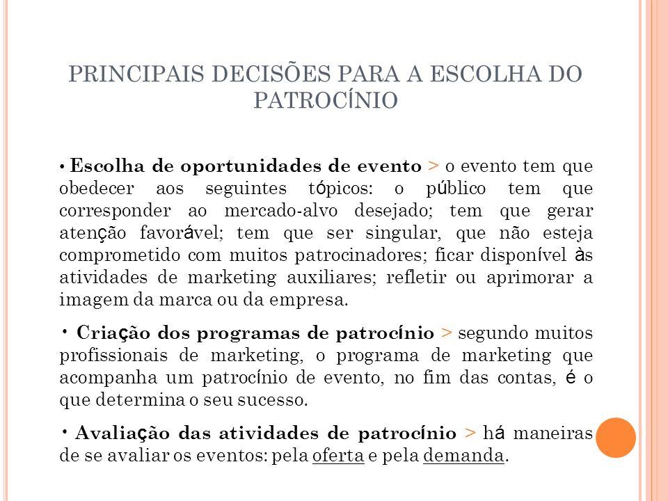 PRINCIPAIS DECISÕES PARA A ESCOLHA DO PATROC Í NIO Escolha de oportunidades de evento > o evento tem que obedecer aos seguintes t ó picos: o p ú blico